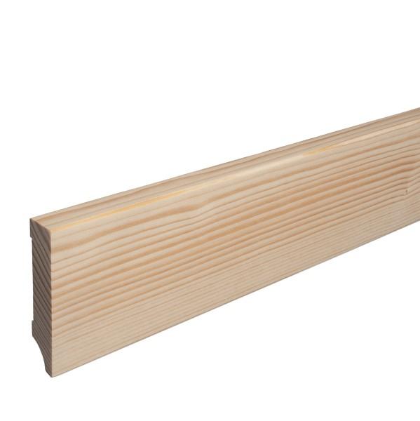 Massivholz-Sockelleiste Fichte ROH Weimarer Profil Moderne Fußleiste 80mm