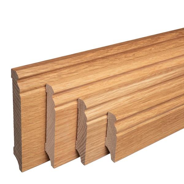 Massive Holz-Sockelleisten Eiche lackiert Hamburger/Berliner Profil [SPARPAKET]
