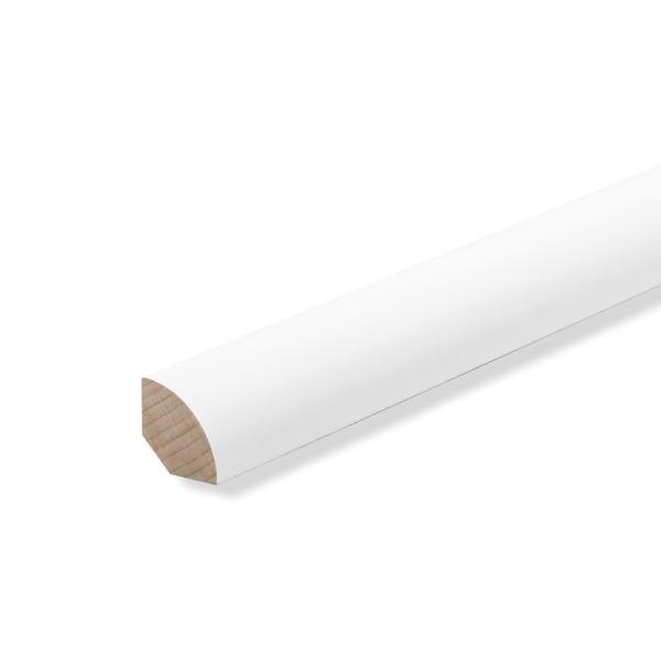 Viertelstab Abdeck- Abschluss- Sockelleiste Buche WEISS LACK 14x14mm [SPARPAKET]