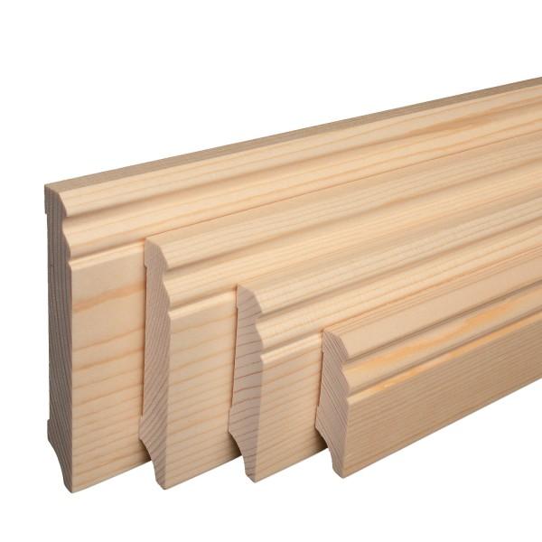Massive Holz-Sockelleisten Fichte lackiert Hamburger/Berliner Profil [SPARPAKET]