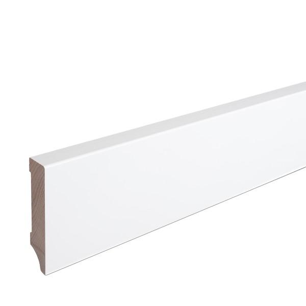 Sockelleiste Massiv Holz Buche weiß lackiert Weimarer Profil Modern 80mm