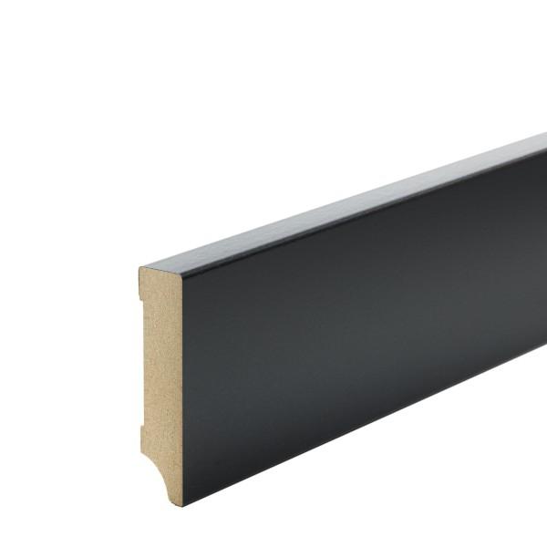 Sockelleiste MDF schwarz foliert Weimarer Profil Modern 80mm