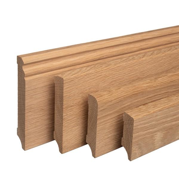 Sockelleiste aus Holz | EICHE | Massivholz-Fußleisten für Laminat Vinyl Parkett