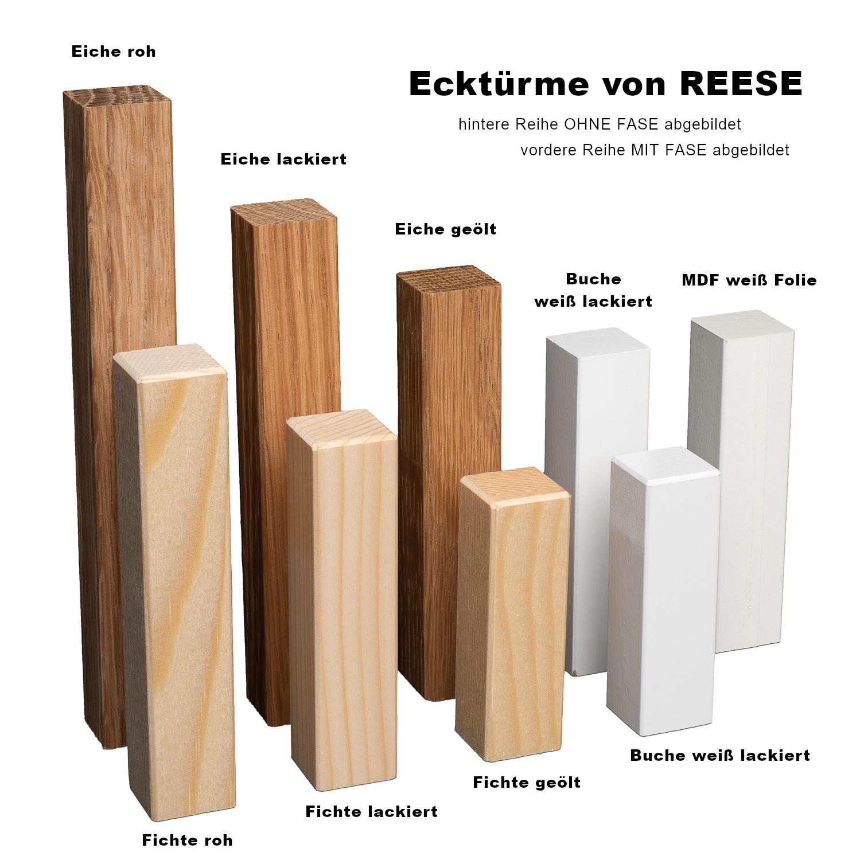 Eckturm Ecken aus Holz Zubeh/ör Innenecke Aussenecke Ecke Eckblock UNIVERSAL passend zu unseren MDF Sockelleisten Hamburger Berliner Profil *NEUHEIT*