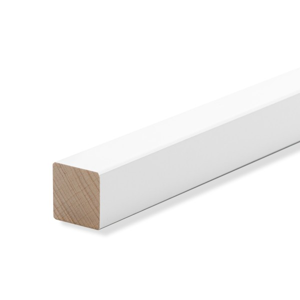 Quadratleiste Abschlussleiste Sockelleiste Buche WEISS LACK 20x20mm [SPARPAKET]
