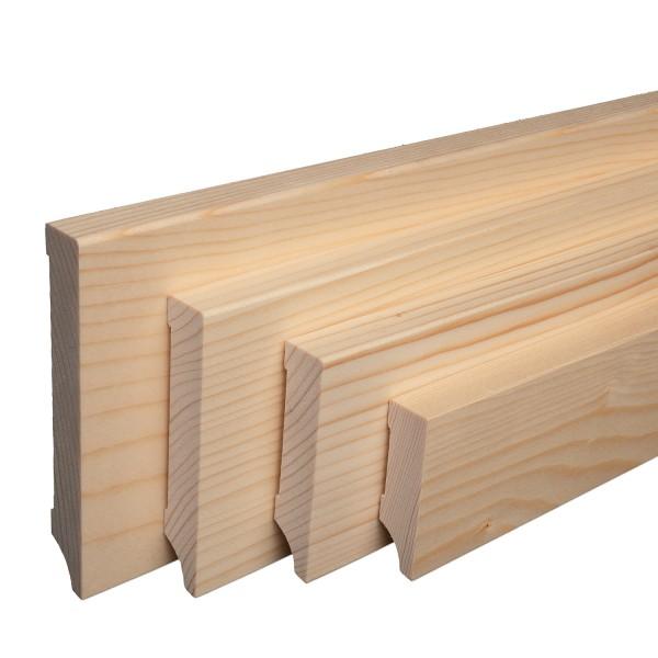 Massive Holz-Sockelleisten Fichte lackiert Weimarer Profil Modern [SPARPAKET]