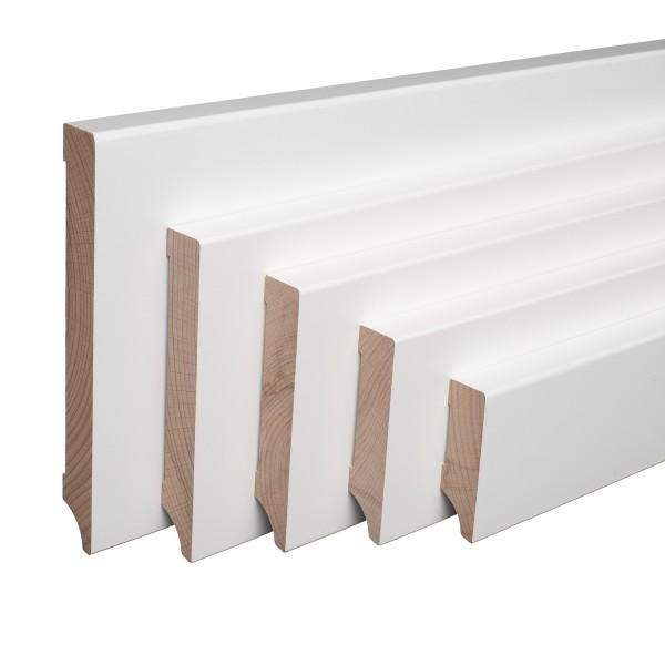 Echtholz-Sockelleisten Weiß lackiert Buche Massiv Weimarer Profil [SPARPAKET]