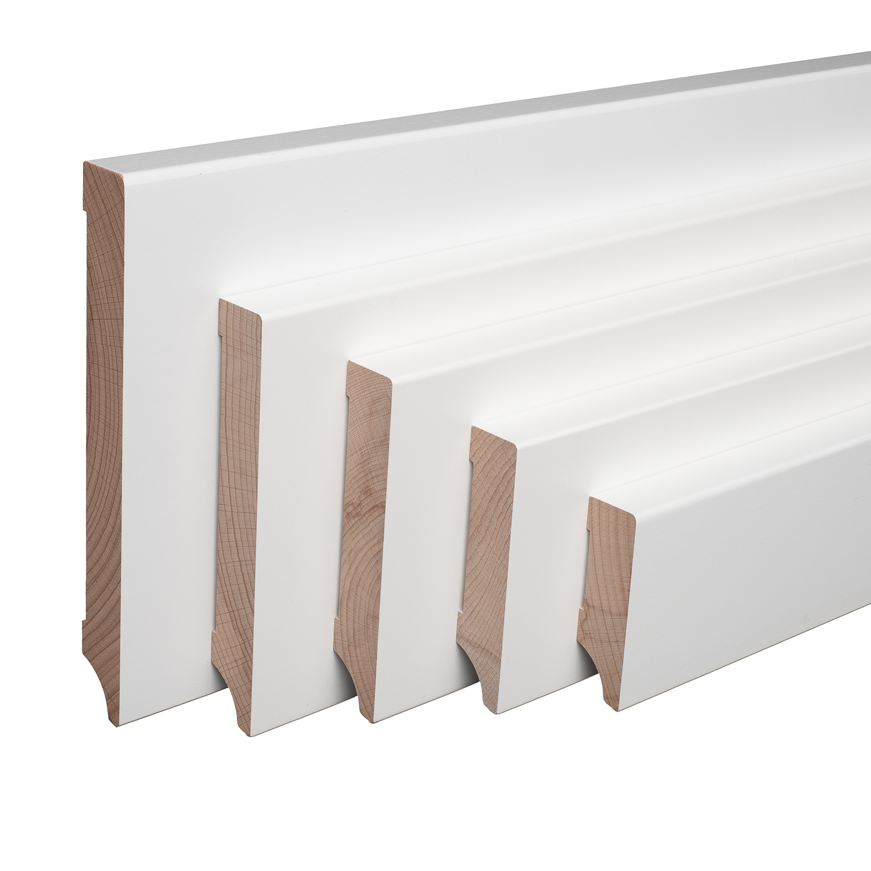 Sockelleiste Massiv Holz Buche wei/ß lackiert Weimarer Profil Modern 60mm